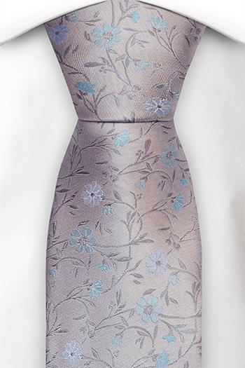 Silke Slips, Bleke blomster i blått og turkis på lysegrått, Grå, Blomstrete