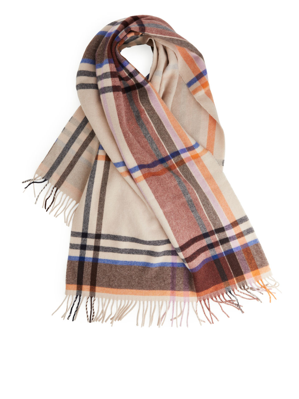 Checked Wool Scarf - Orange