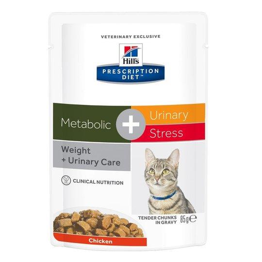 Hill's Prescription Diet Feline Metabolic + Urinary Stress Weight + Urinary Care Chicken 12x85 g