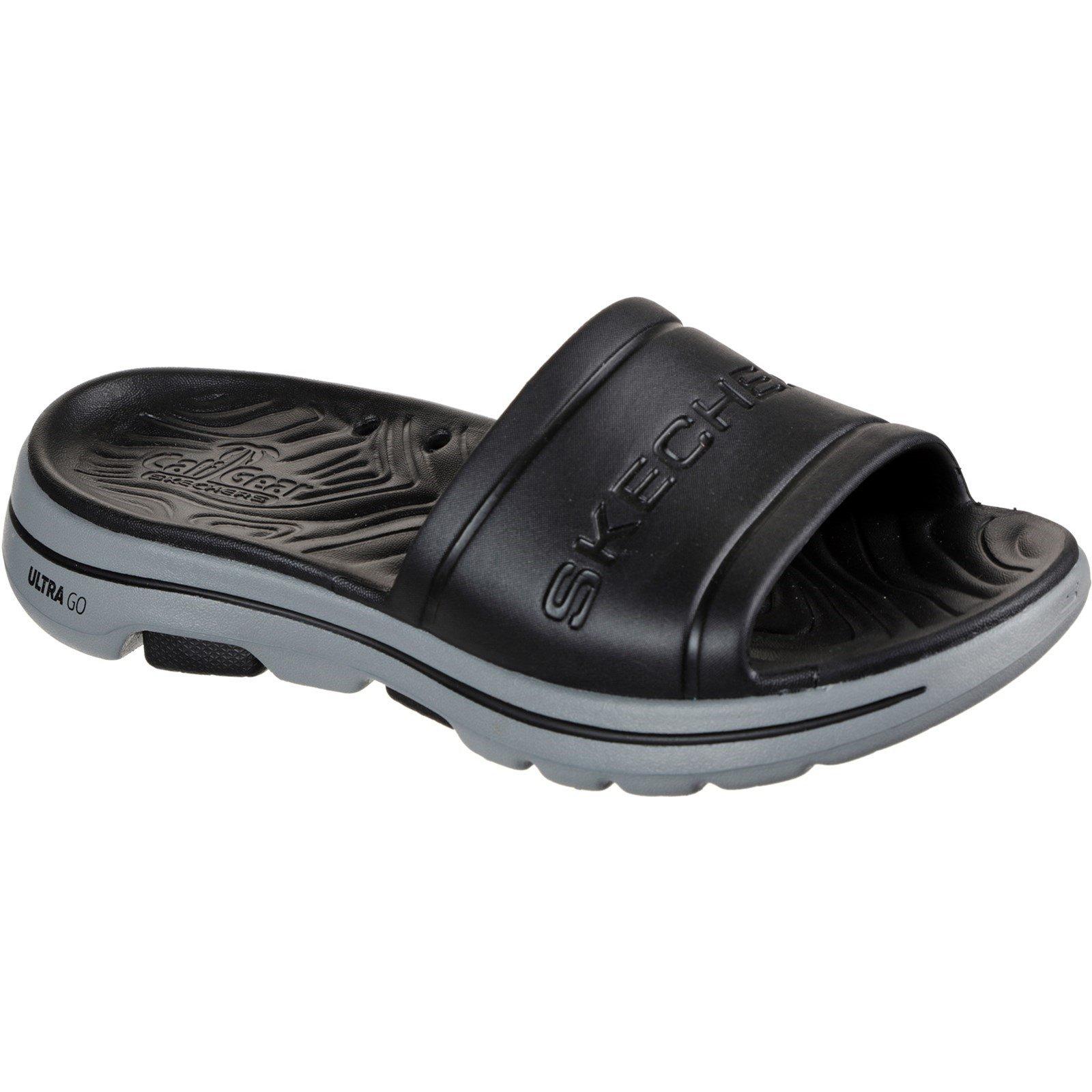 Skechers Men's Go Walk 5 Surfs Out Summer Sandal Various Colours 32207 - Black/Grey 10
