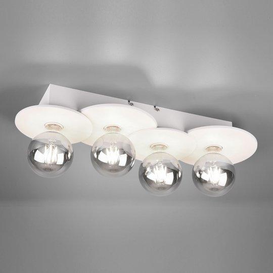 Taklampe Discus, 4 lyskilder, hvit