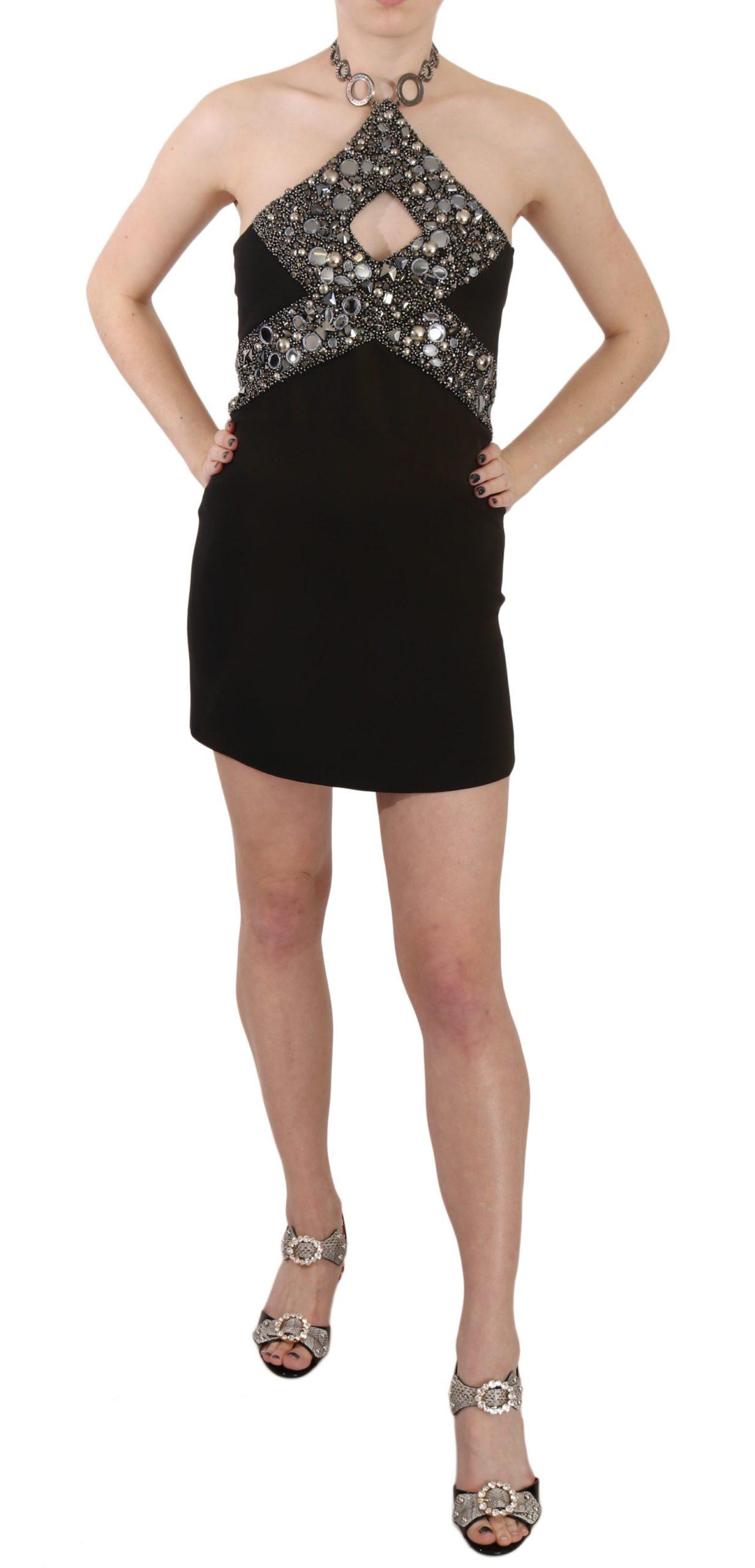 John Richmond Women's Sequined Stretch Mini Shift Dress Black DR1675 - IT38 XS