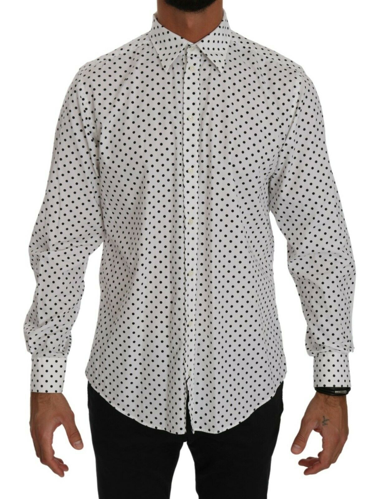 Dolce & Gabbana Men's Dotted Dress Formal MARTINI Shirt White TSH4075 - IT37 | XS