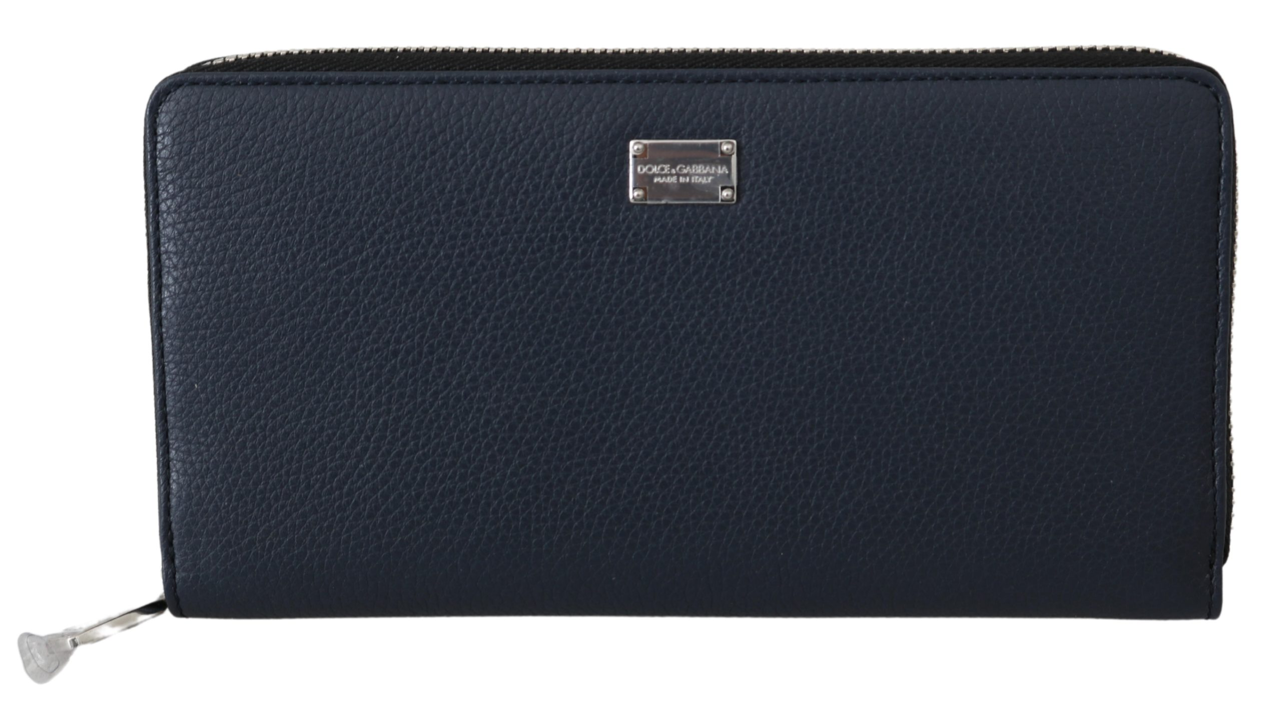 Dolce & Gabbana Men's Zip Around Continental Leather Wallet Blue VAS9633