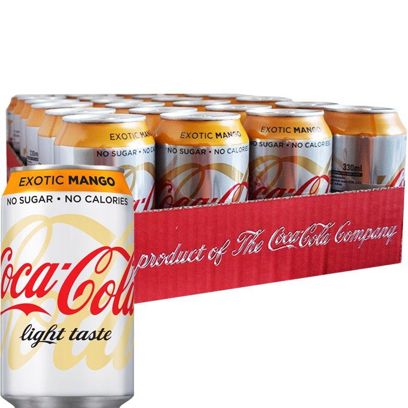"""Hel Platta Läsk """"Coca Cola Light Exotic Mango"""" 24 x 33cl - 50% rabatt"""