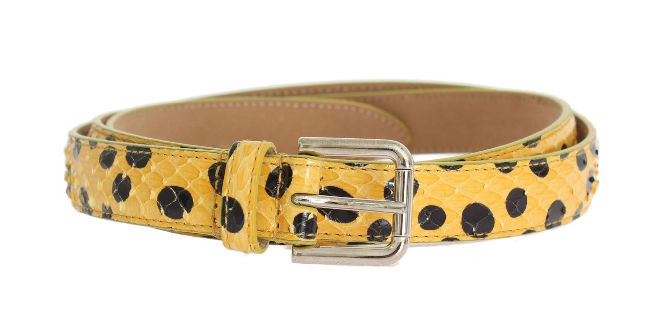 Dolce & Gabbana Women's Snakeskin Silver Buckle Yellow BEL10354 - 80 cm / 32 Inches