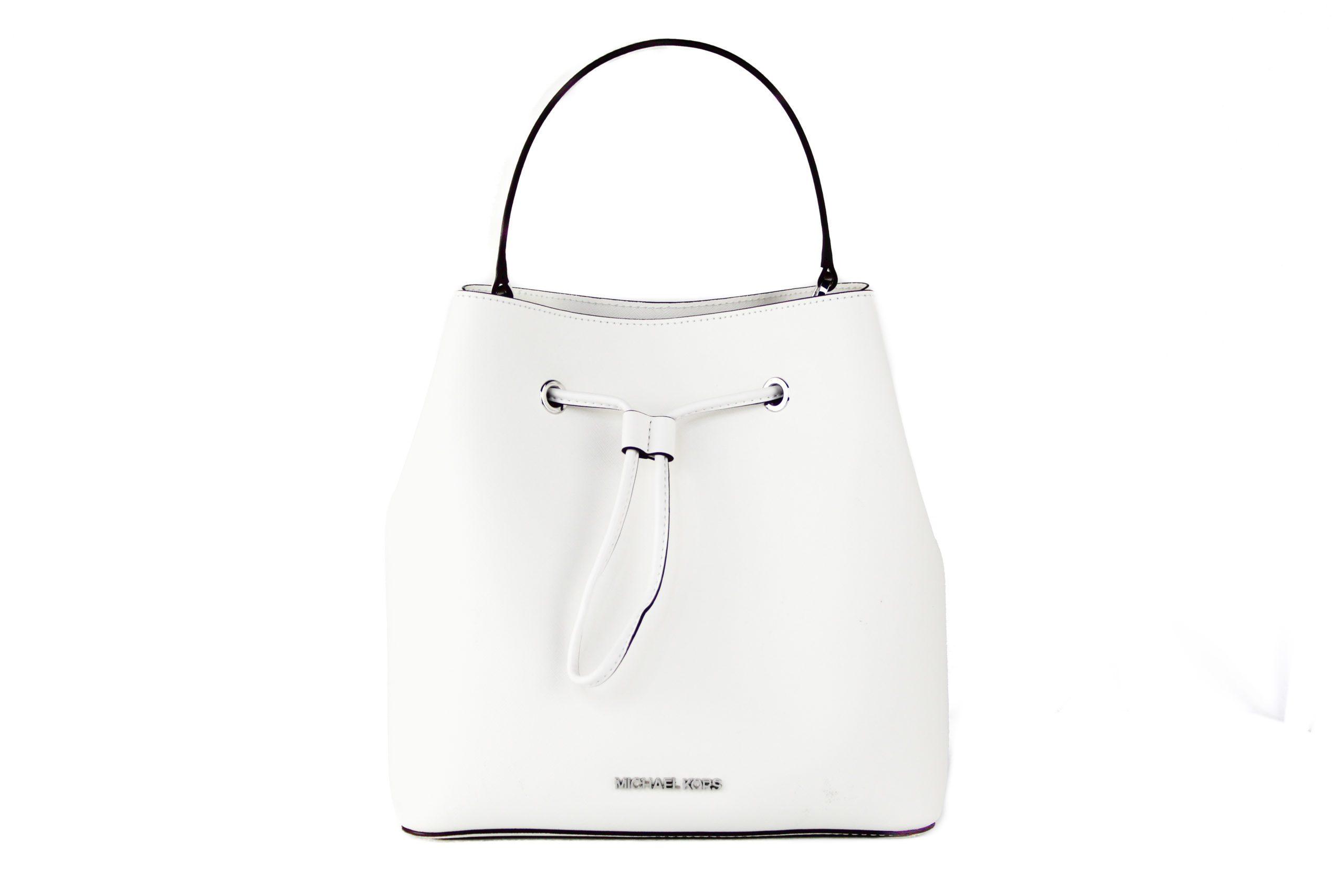 Michael Kors Women's Suri Large Leather Bucket Crossbody Bag White 57933