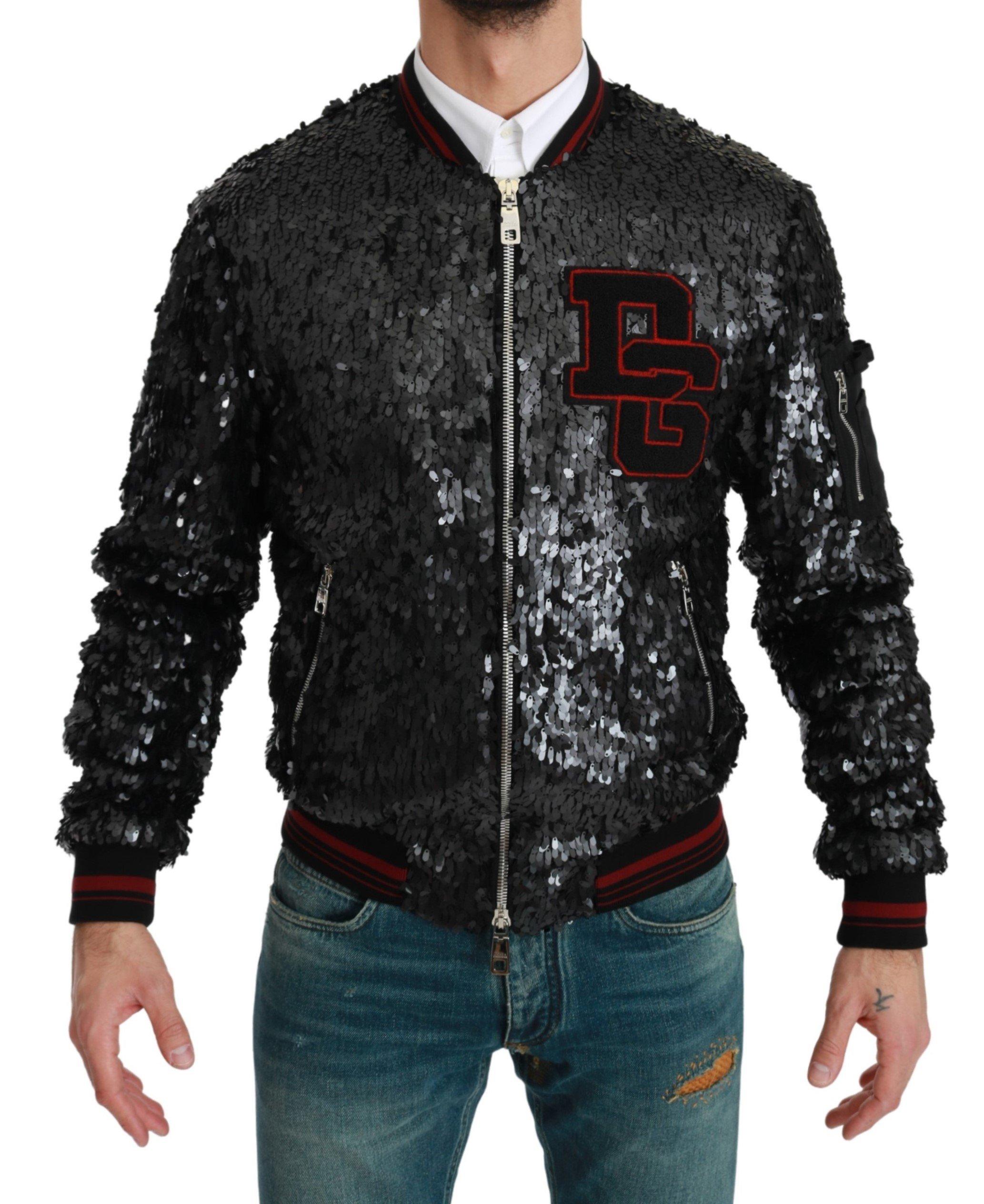 Dolce & Gabbana Men's Sequined Bomber Coat Jacket Black JKT2608 - IT44   XS
