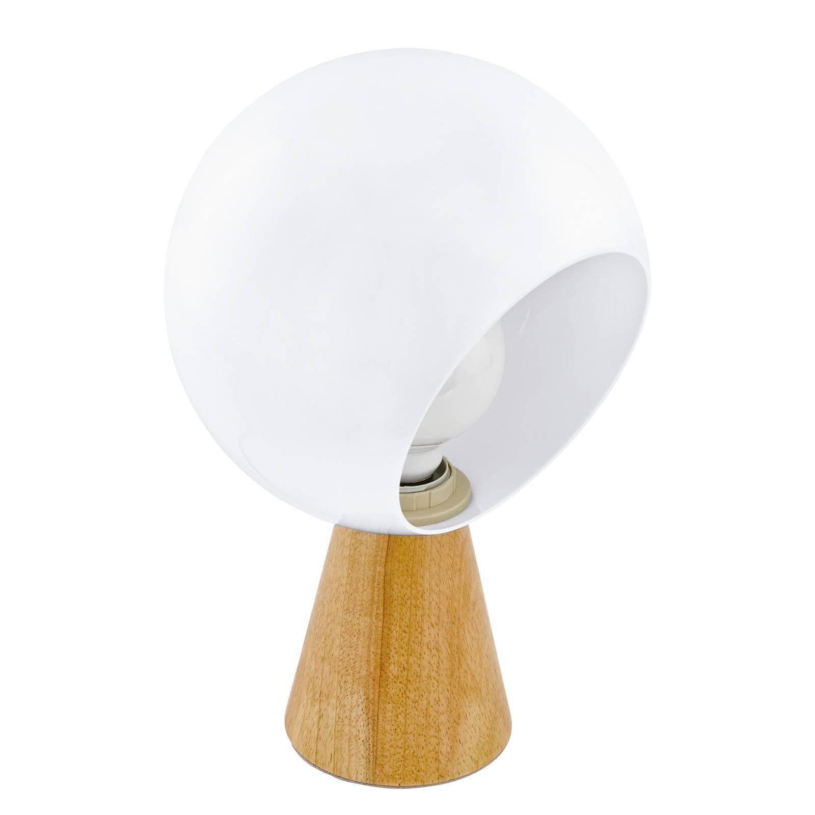 Pöytälamppu Mamblas, puinen jalka, pallovarjostin