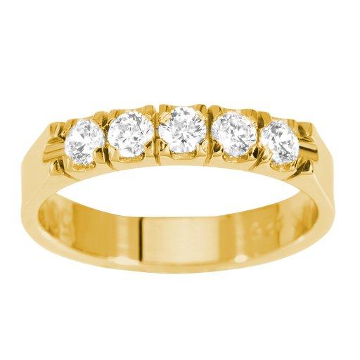 Diamantring i 18K guld, 58
