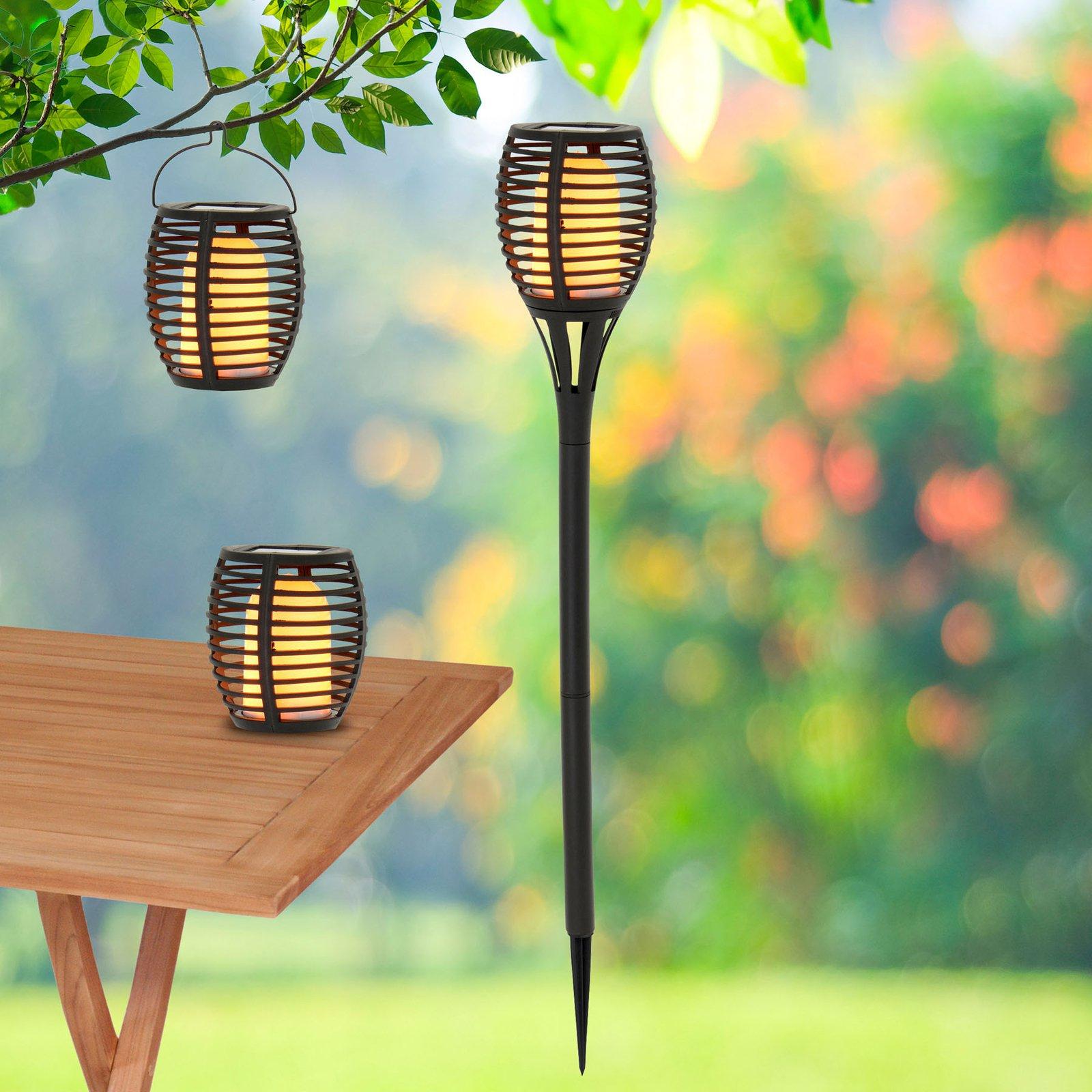 LED-solcellelampe Fackel med jordspyd, 2 pk 3-i-1