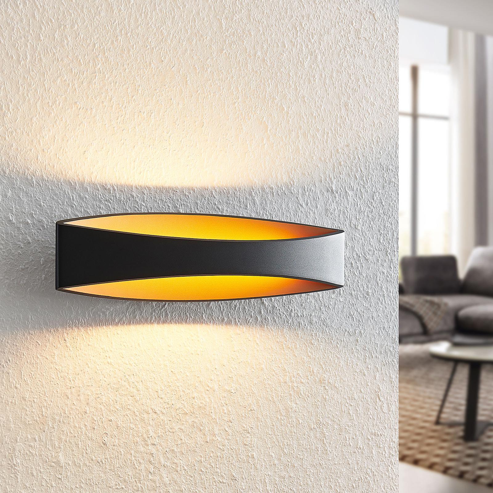Arcchio Jelle -LED-seinävalaisin, 43,5 cm, musta