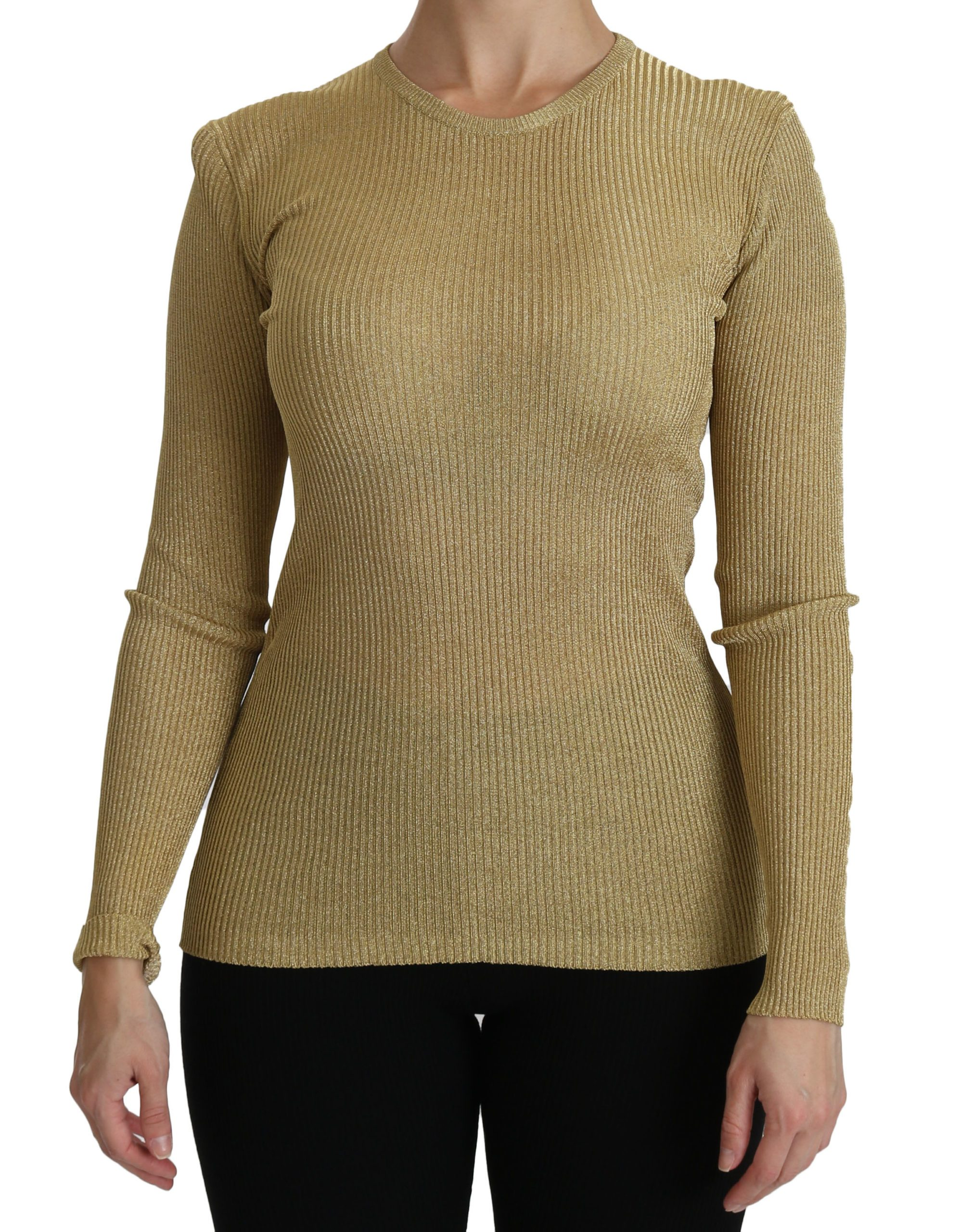 Dolce & Gabbana Women's Crew Neck LS Viscose Top Gold TSH4242 - IT40 S