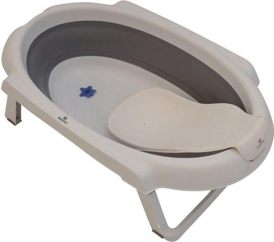 BabyDan Sammenleggbar Badebalje 30L med Badestøtte, Kremhvit