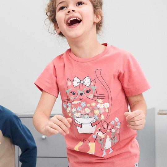 T-skjorte med trykk rosa