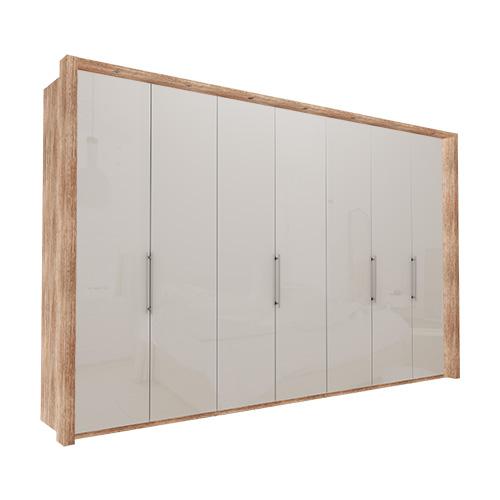 Garderobe Atlanta - Lys rustikk eik 350 cm, 236 cm, Med ramme