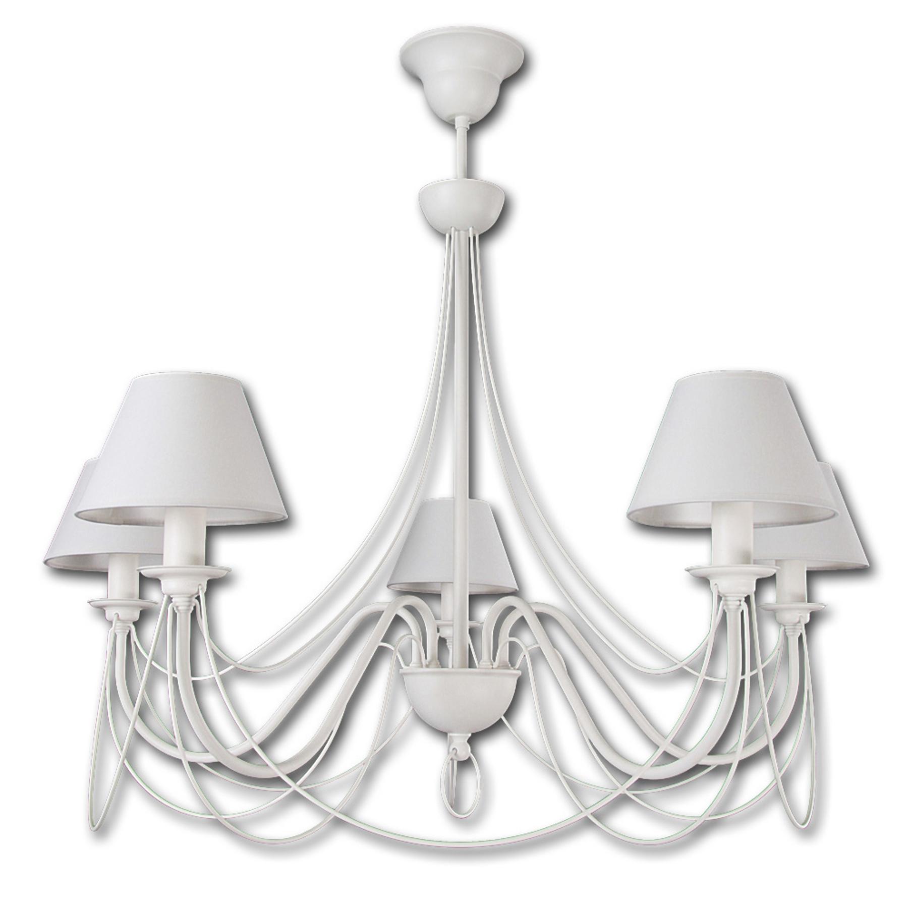 Kattokruunu Bona, 5-lamppuinen, valkoinen
