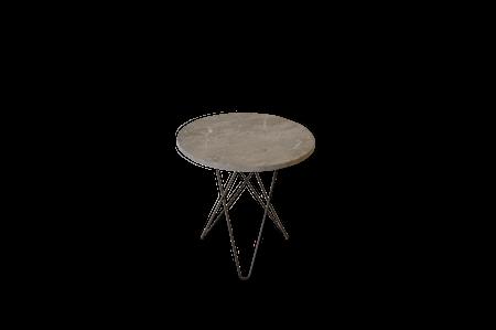 Tall Mini O Table Grå Marmor med Svart Ramme Ø50