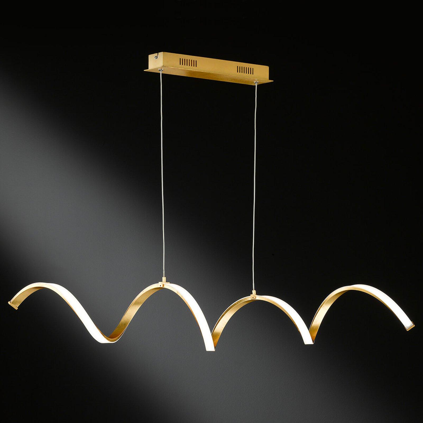 LED-hengelampe Russell i edel gulltone