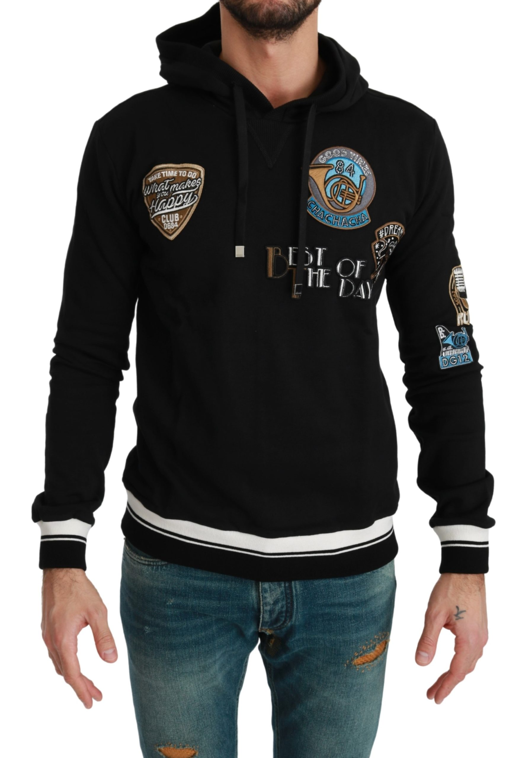 Dolce & Gabbana Men's Cotton Patched Hooded Pullover Black TSH4583 - IT46   S