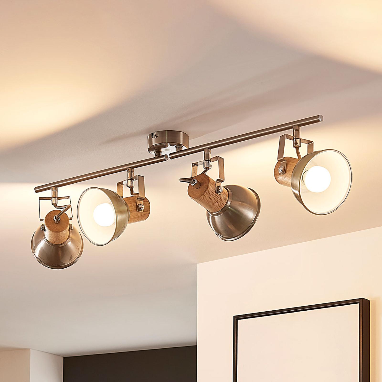 Nelilamppuinen LED-kattovalaisin Dennis, puuta