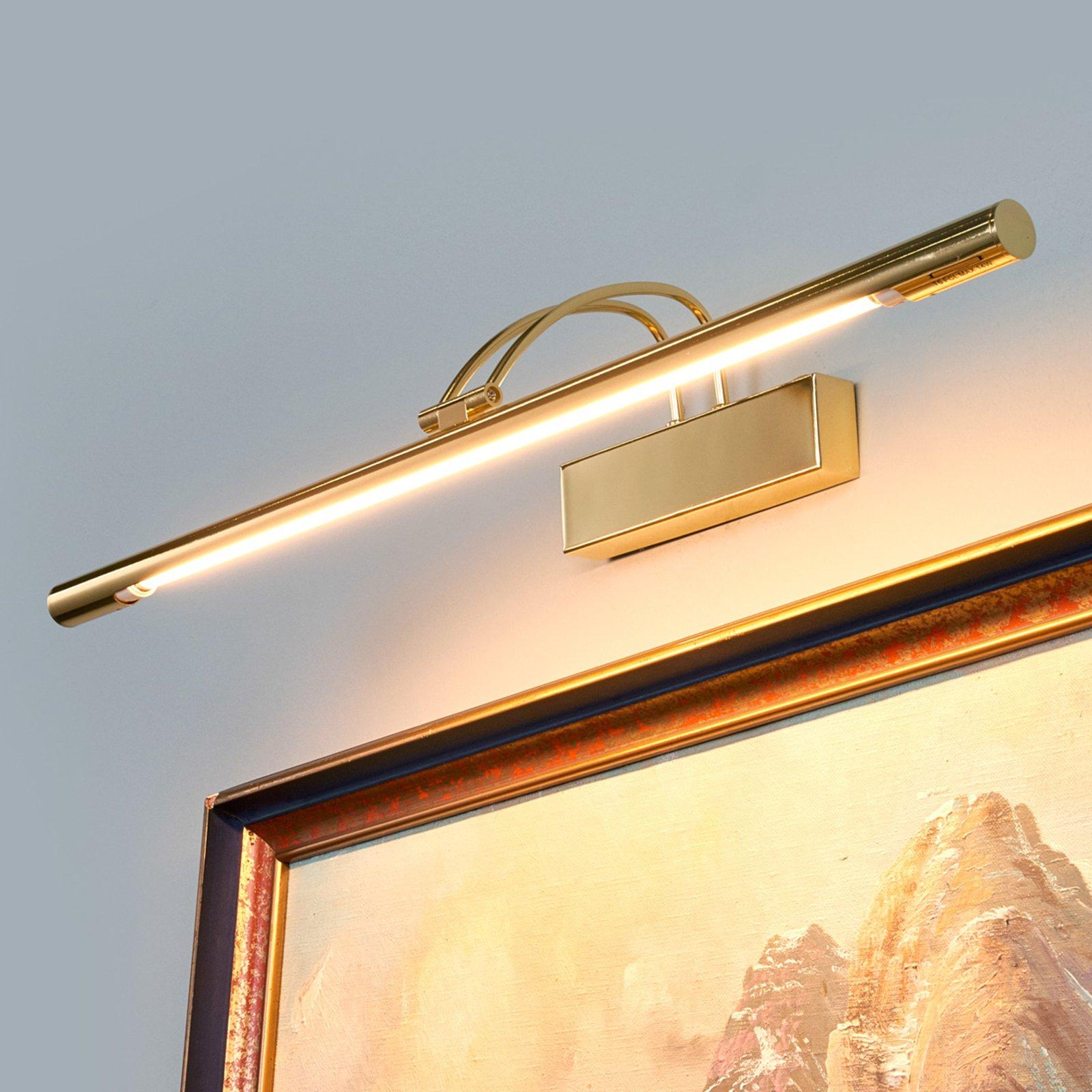 LED-bildelampe Piktura, messing polert