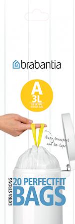 Avfallspåsar A, 3Ltr [20 påsar/rulle] White