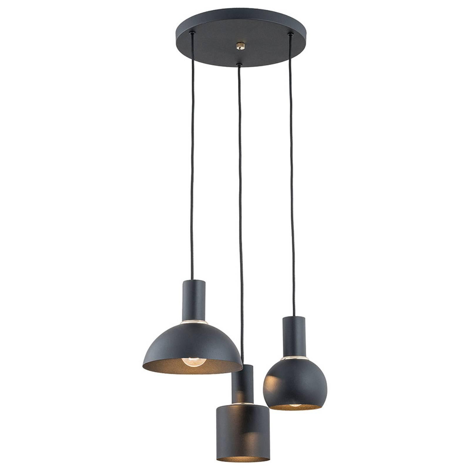 Riippuvalo Selma, 3-lamppuinen, musta