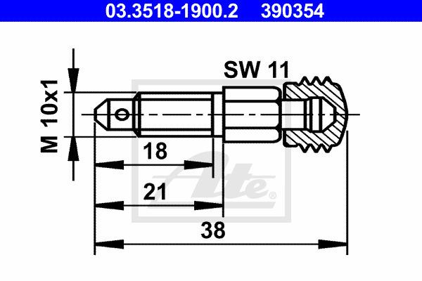 Huohottimen pultti / venttiili ATE 03.3518-1900.2