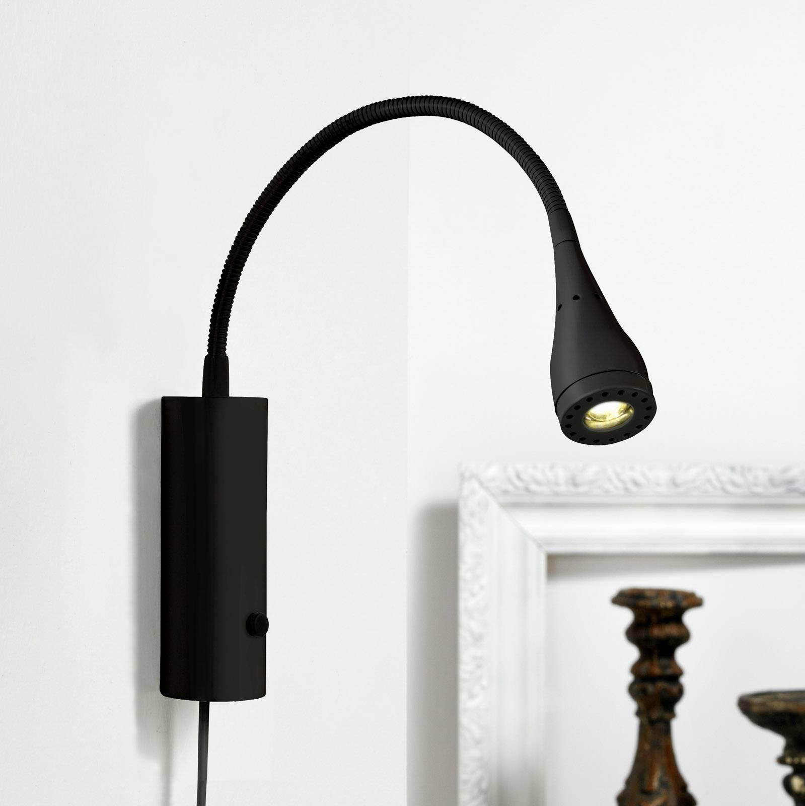 LED-seinävalo Mento joustovarrella, musta