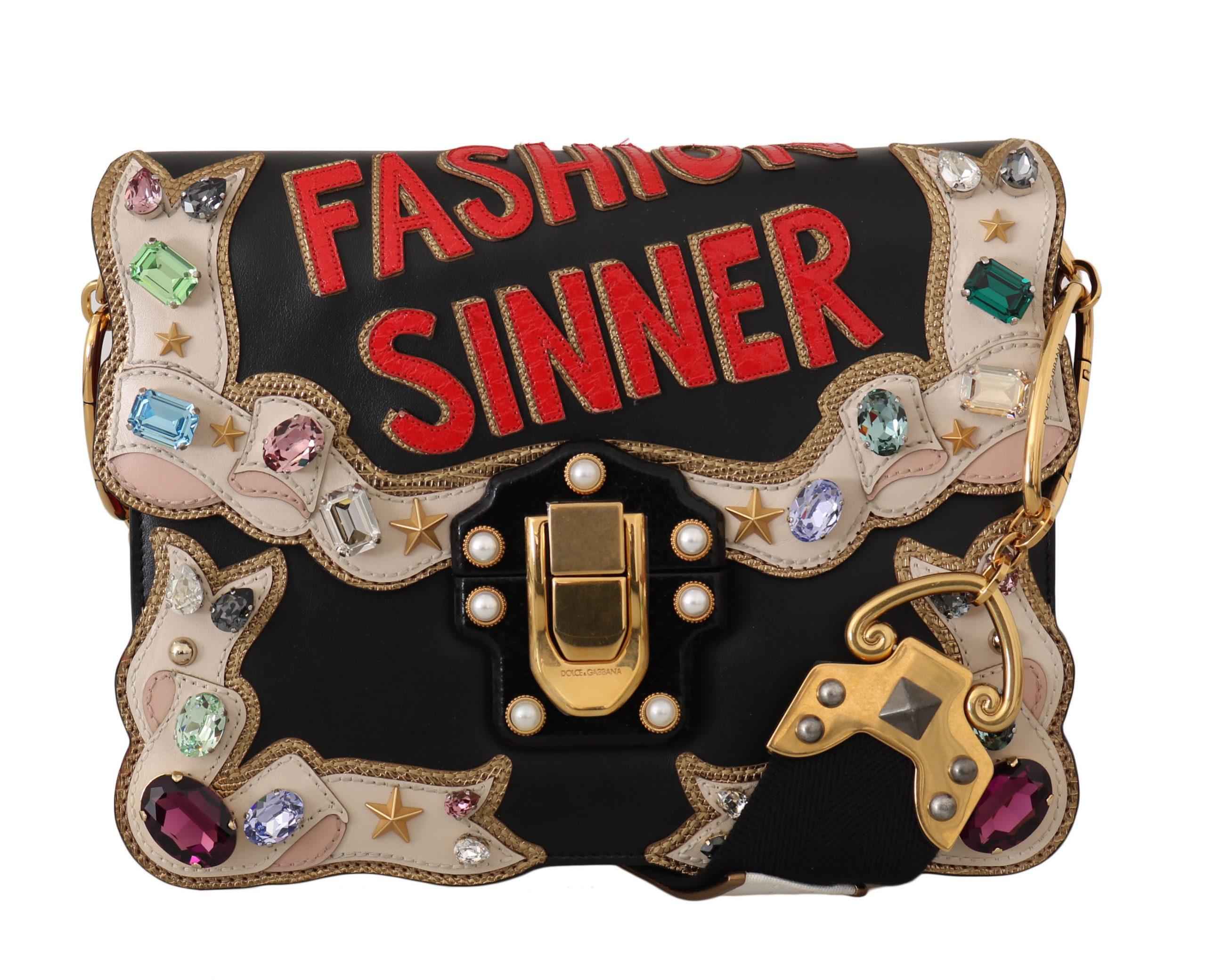 Dolce & Gabbana Women's Leather Crystal Fashion Shoulder Bag Black VA1083