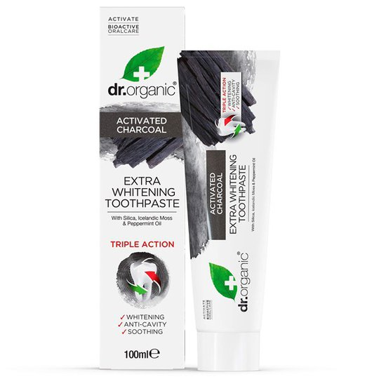 Dr. Organic Activated Charcoal Extra Whitening Toothpaste, 100 ml