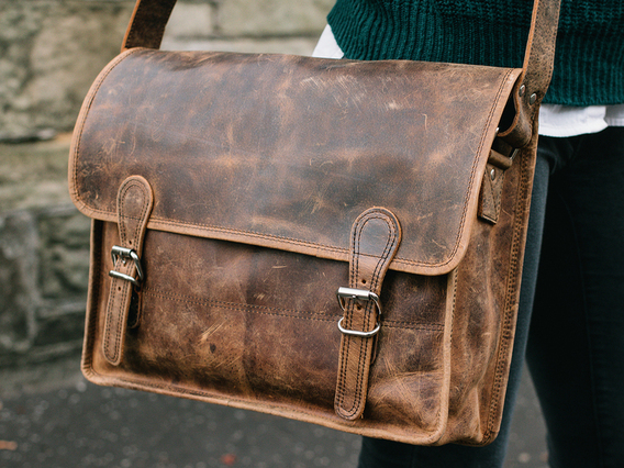 Medium Vintage Leather Satchel 15 Inch Brown 15 Inch