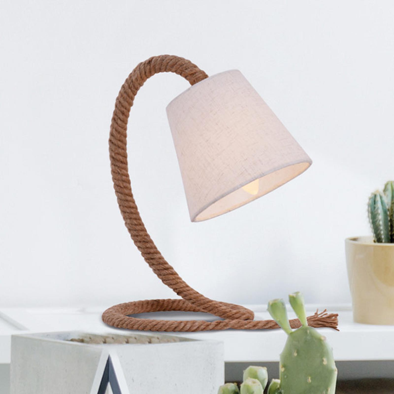 Pöytälamppu Rope, tekstiilivarjostin, luonnonköysi