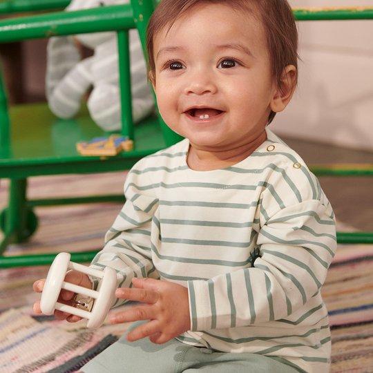 Stripet, langermet genser baby grønn