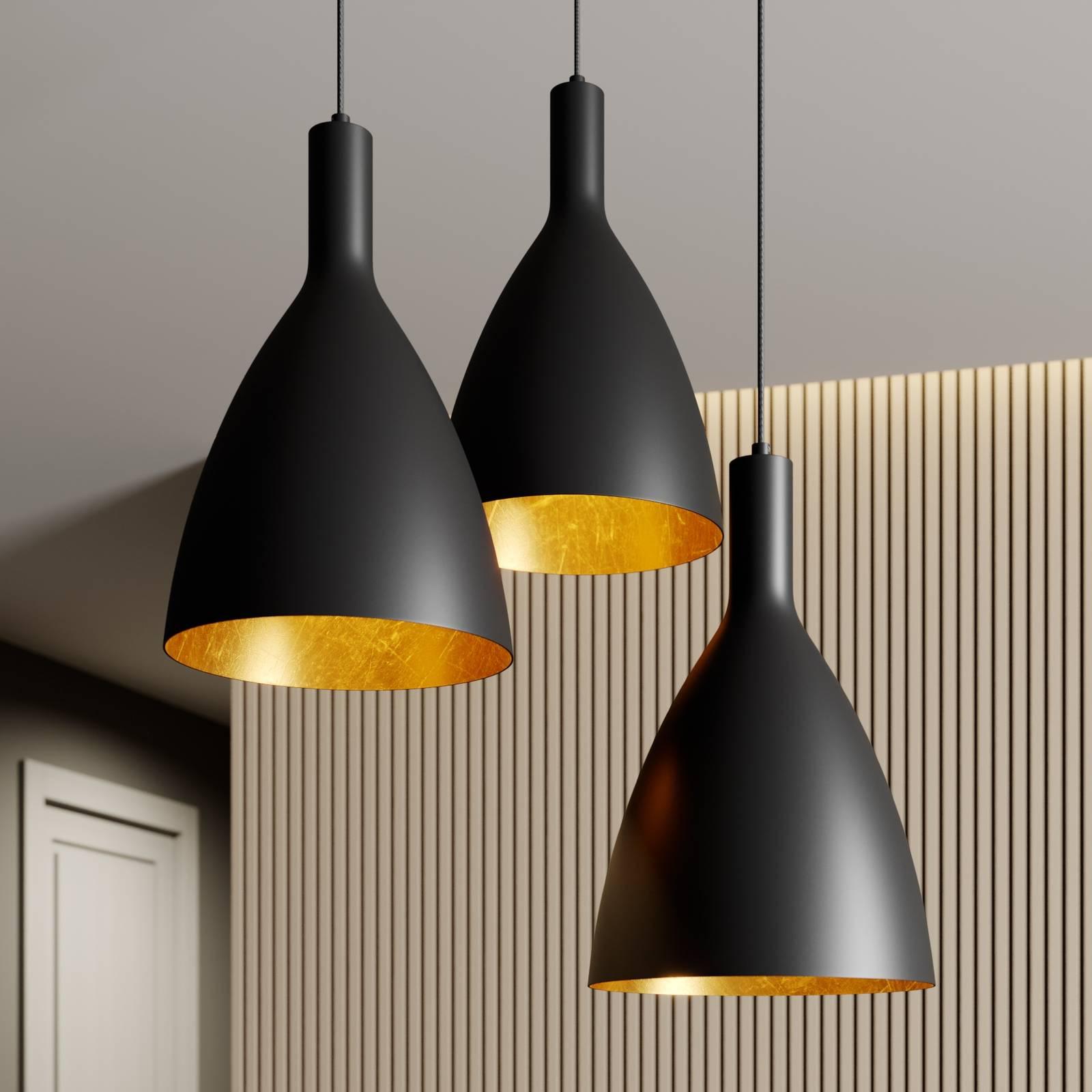 Arcchio Arthuria -riippuvalo, 3-lamp., musta