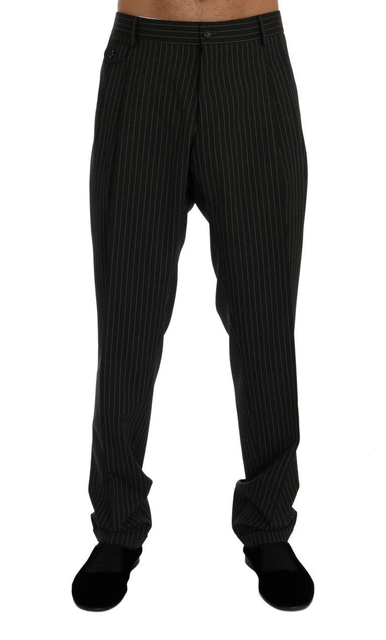 Dolce & Gabbana Men's Striped Wool Stretch Formal Trouser Gray PAN60341 - IT52 | XL
