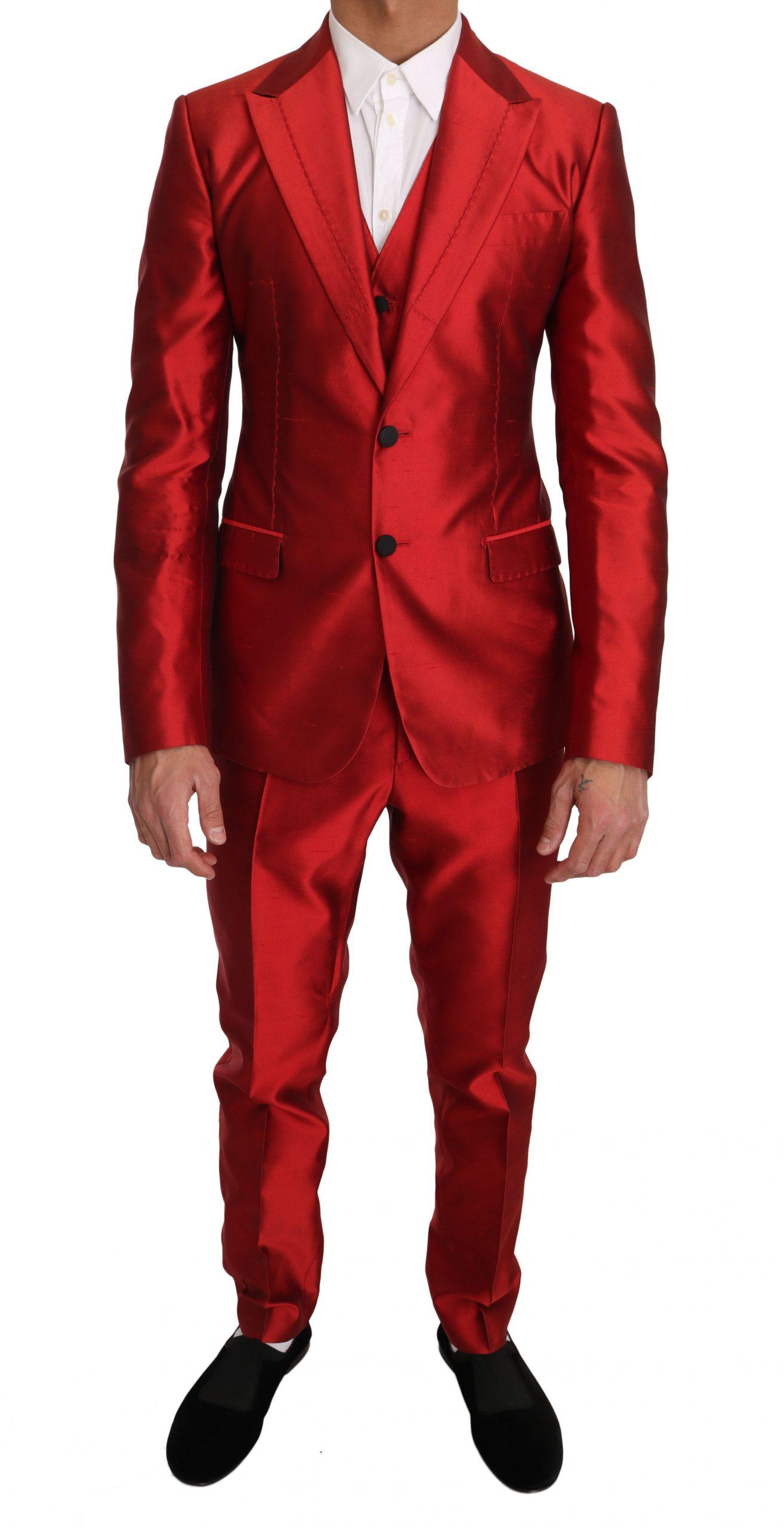 Dolce & Gabbana Men's Silk Slim Fit 3 Piece Two Button Suit Red KOS1180 - IT48   M