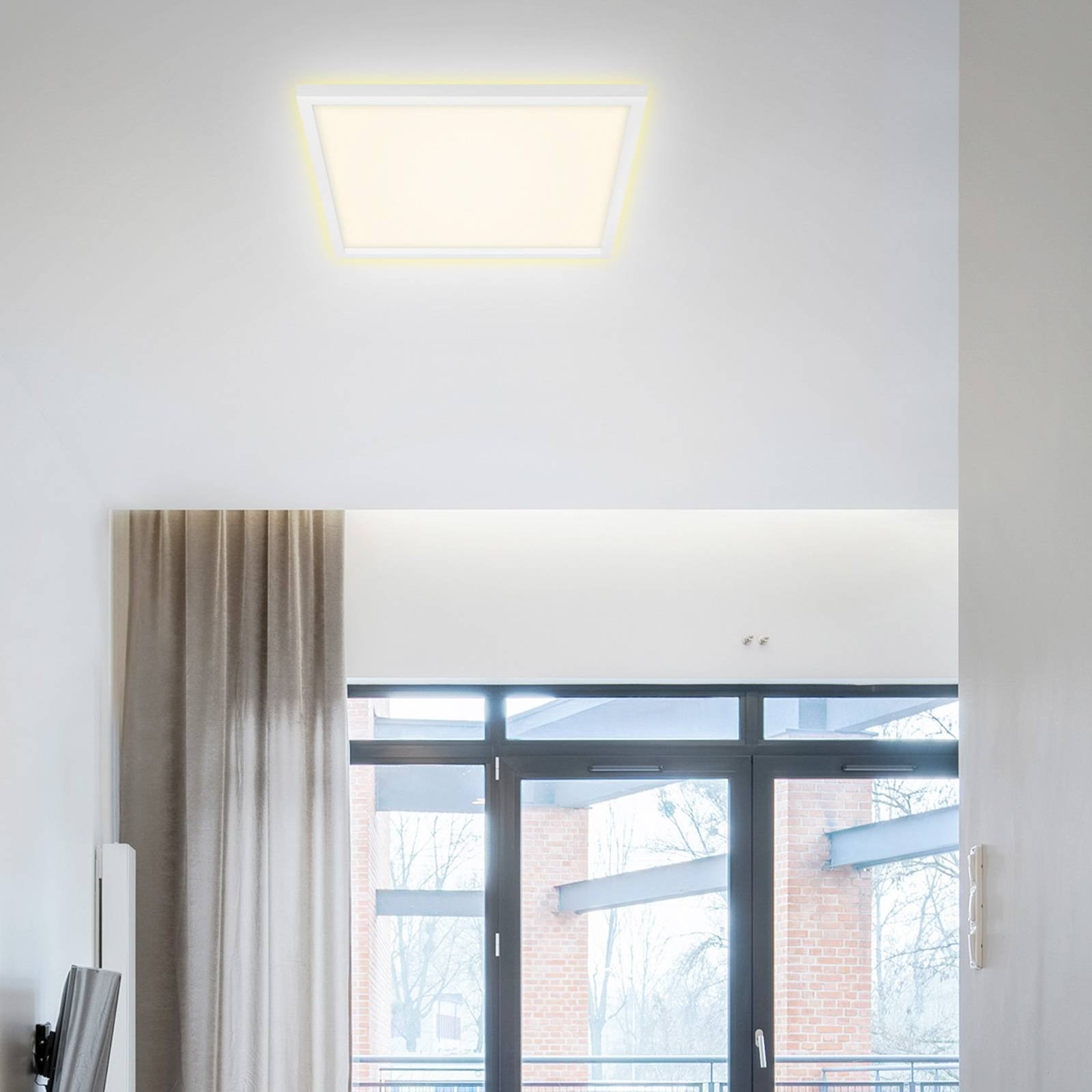 LED-taklampe 7364, 42x42 cm hvit