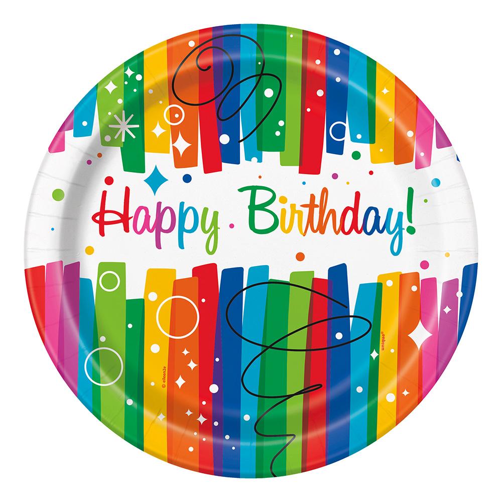 Papperstallrikar Happy Birthday Regnbåge - 8-pack