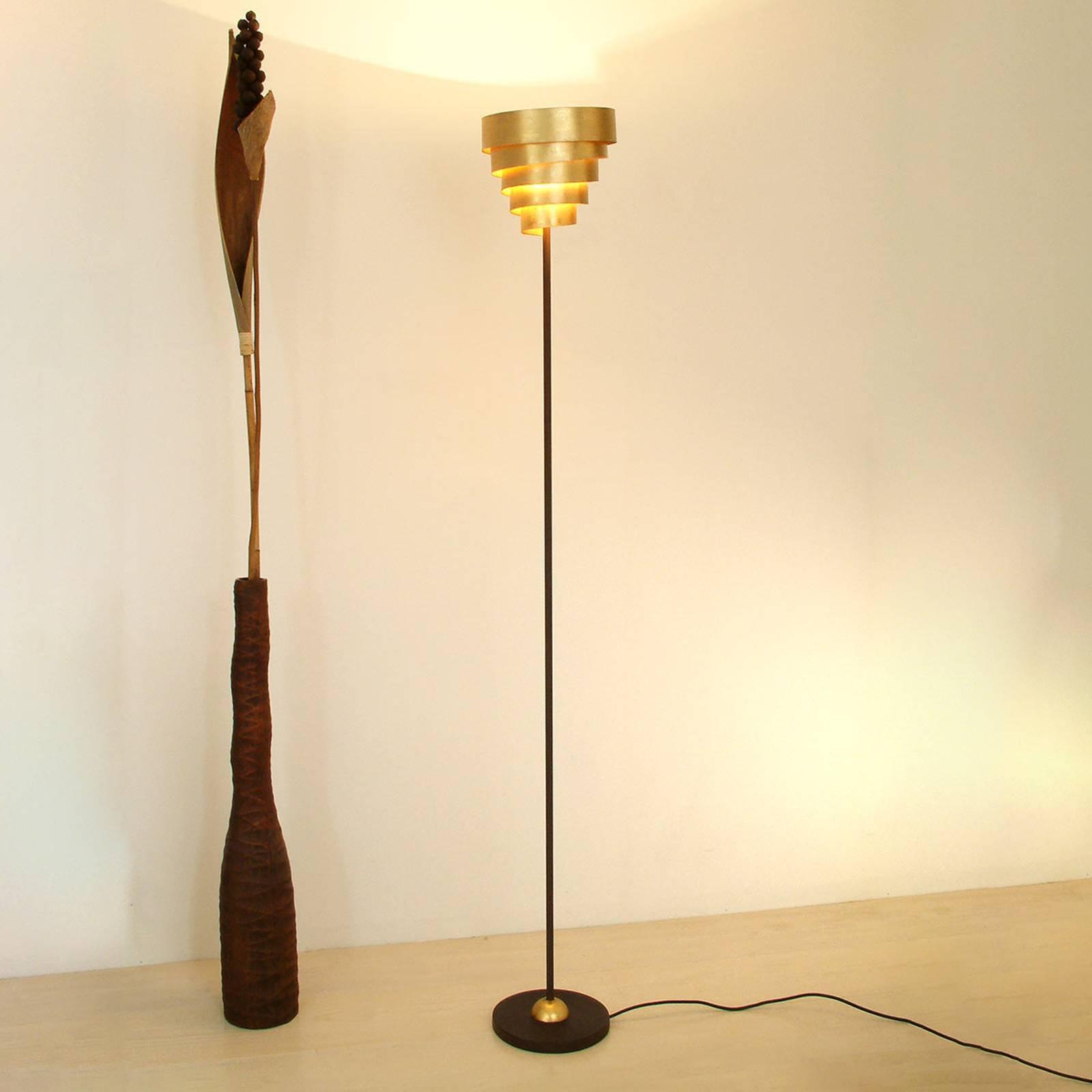 Glansfull BANDEROLE stålampe i brun gull