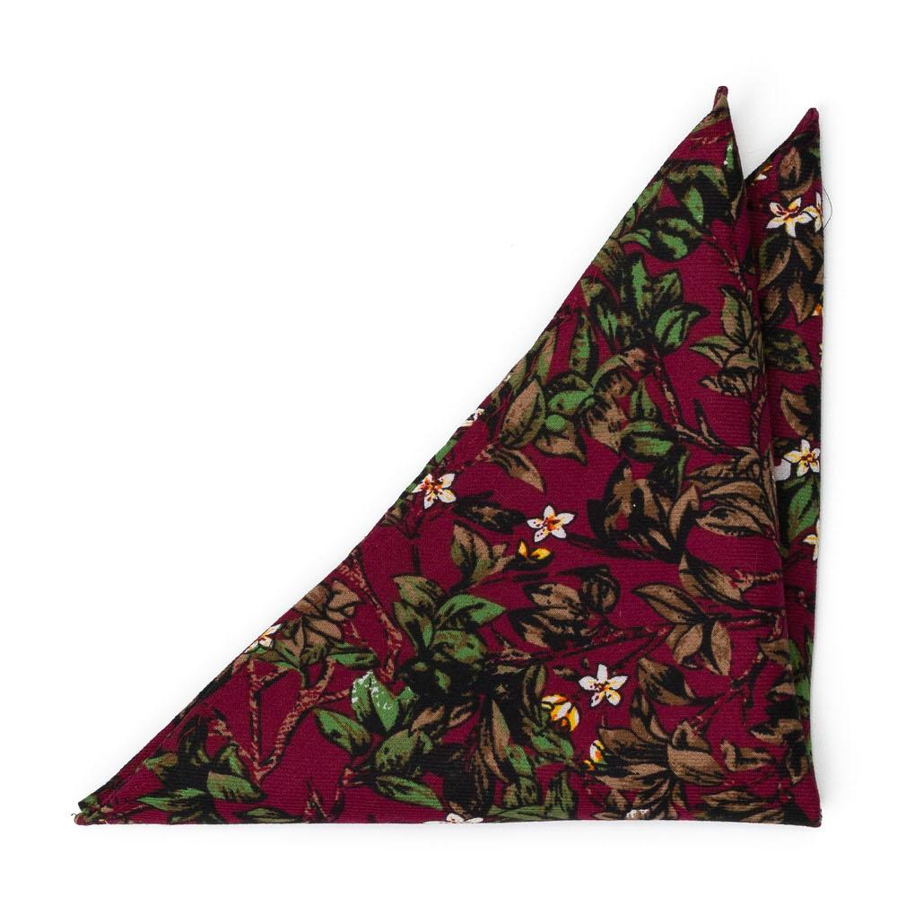 Bomull Lommetørkler, Hvite blomster og grønne blader på burgunder, Rød, Blomster