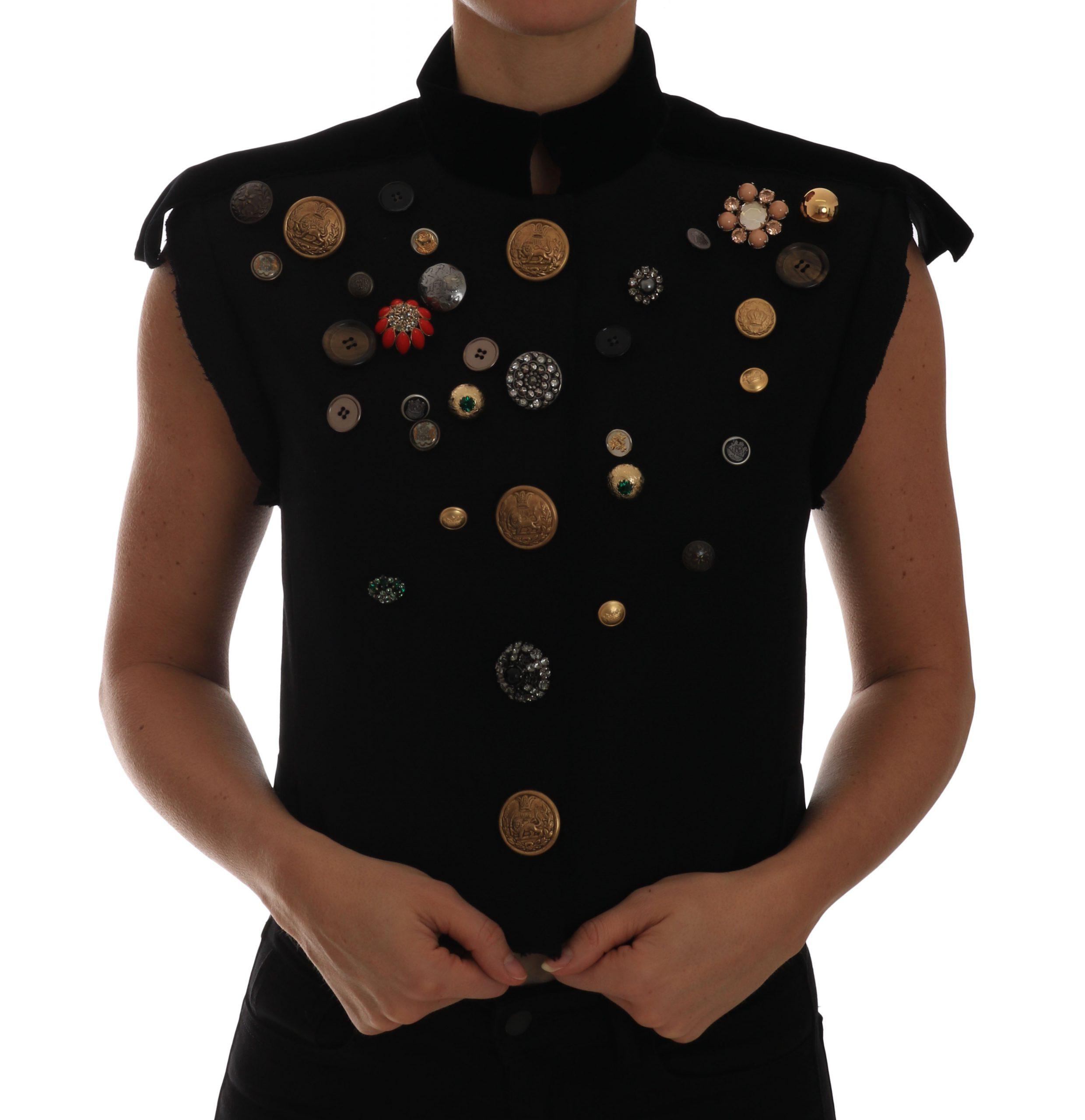 Dolce & Gabbana Women's Floral Military Vest Black TSH2410-40 - IT40 S