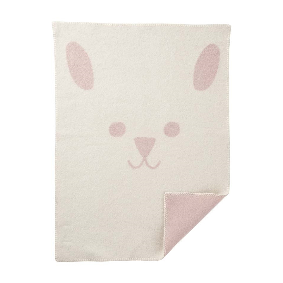 Babyfilt Rabbit rosa lammull Klippan Yllefabrik