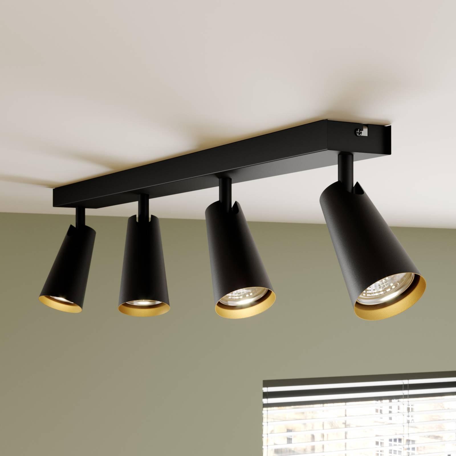 Lucande Angelina -kattovalo, musta-kulta, 4-lamp.