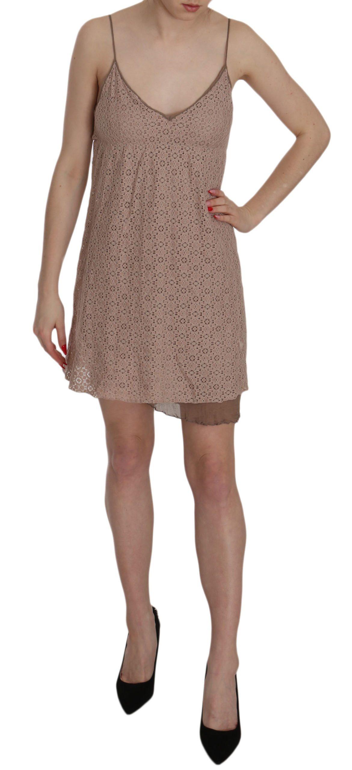 PINK MEMORIES Women's Spaghetti Strap A-line Cotton Dress Beige TSH3475 - IT40 S