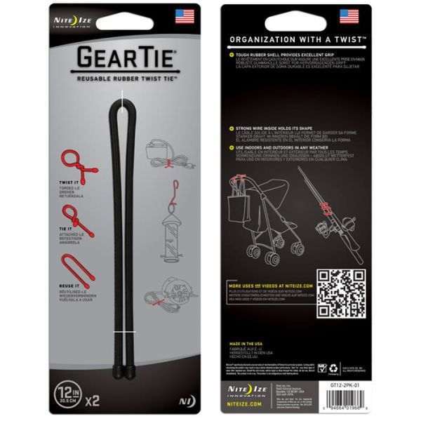Nite Ize Gear Tie 12 Vaier 2-pakning svart