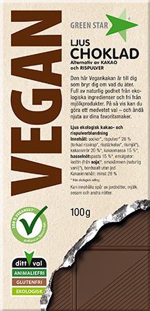 Green Star Vegan Ljus Choklad 100g
