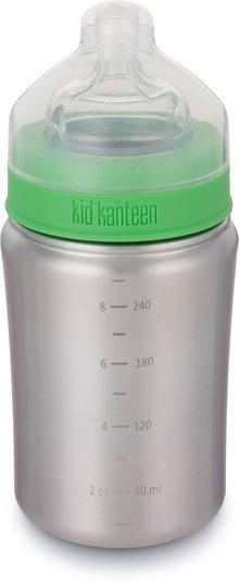Klean Kanteen Vannflaske Medium Flow Nipple 266ml, Brushed Stainless