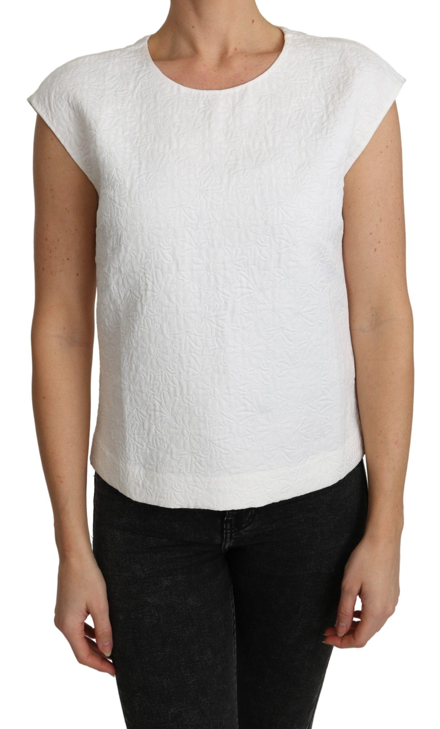 Dolce & Gabbana Women's Floral Brocade Top White TSH4840 - IT36 | XS